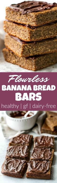 Flourless Banana Bread Bars made in the blender with only a handful of simple ingredients! They're gluten-free, oil-free, dairy-free, and refined-sugar-free, so they make a deliciously healthy treat for when those cravings hit | runningwithspoons.com