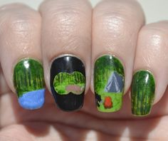 Challenge Your Nail Art, Let's Go Camping theme: Nature    #ChallengeYourNailArt