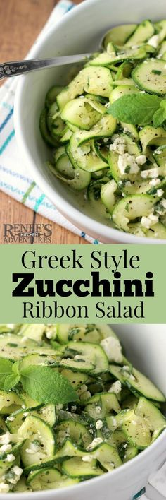 Business Cookware Ought To Be Sturdy And Sensible Greek Style Zucchini Ribbon Salad By Renee's Kitchen Adventures Is An Easy, Healthy Recipe For Raw Zucchini Salad. Easy Healthy Recipes, Raw Food Recipes, Vegetable Recipes, Salad Recipes, Easy Meals, Cooking Recipes, Veggie Meals, Healthy Dishes, Vegetable Dishes