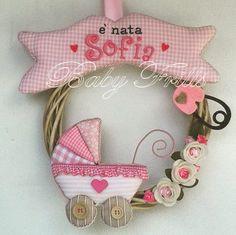 """Fiocco di nascita """"Carrozzina rosa"""", by Baby Frills, 25,00 € su misshobby.com"""