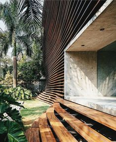 Horizontal timber panelling & a formed concrete entrance ~ Columbia 324 Entrance by Tryptyque