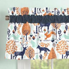 Carousel Designs Navy and Orange Woodland Window Valance Rod Pocket Approximately x Tab-top style window valance Can drape straight down or be stuffed Made in the USA