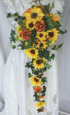 Sunny Sunflower Cascade Bridal Bouquet