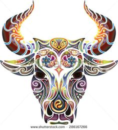 Head of a bull. looks like a bull and owl combined get different colors red and brown