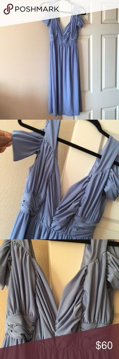 A new light blue midi dress from ASOS New, light blue midi dress. Deep cleavage cut with a v neck back. Beautiful ruching in the front. ASOS Dresses Midi