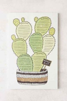 Wit & Whistle Cactus Weekly Notepad - Urban Outfitters