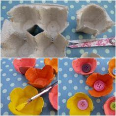 die drei erste Schritte wie man Blumen aus Eierkarton selber macht