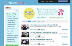 GirlfriendHire.com is a new website where you can hire a girl to do 'girlfriend-type' things for you at a cost of just $5