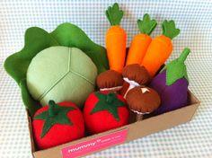 Pretend Play Felt Food Garden Vegetable Box by mummymadeitme, £23.00