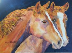 Final painting of horses with background.  Watercolor on Canvas 16x20