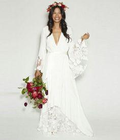 2017 New Fashion BOHO Bohemian Wedding Gowns Hippie Style Beach Wedding Dresses Long Sleeves V Neck Lace Plus Size Bridal Dress