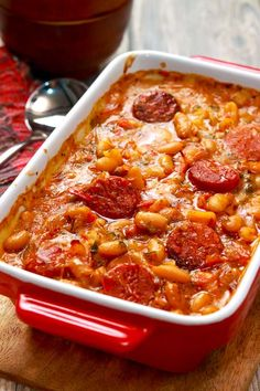 Tavce gravce is baked beans with the twist of slightly spicy peppers, onions, fresh tomatoes and the optional addition of smoked meats.