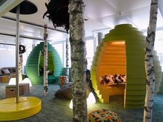 Google HQ really knows how to let employees relax! Work isn't work when you're in a futuristic forest.
