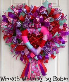 Heart Shaped Deco Mesh Valentine's Day Wreath in Red, Purple, Pink and Mint Green, Front Door Wreath, Valentines Decor, Heart Wreath by WreathWhimsybyRobin on Etsy
