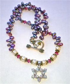 STAR of DAVID CZ Fresh Water Pearls Swarovski by TheBeadCougar, $96.00