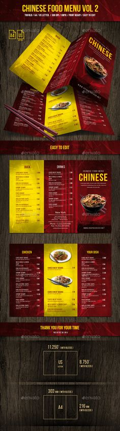 Chinese A4 & US Letter #Trifold Food Menu Vol 2 - #Food #Menus Print Templates