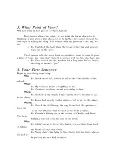 Short Story Writing handouts FREE