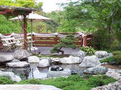 Elegant japanischer garten merkmale teich steine bonsai baum