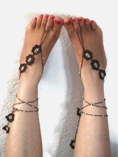 Brown Crochet Barefoot Sandals Beaded Ankle Bracelet by Nakkashe