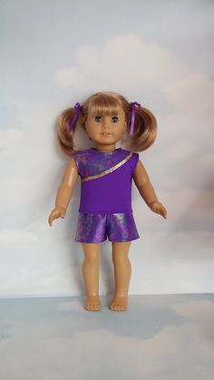 18 inch doll clothes - Purple Shorts and Top handmade to fit the American girl doll - FREE SHIPPING by susiestitchit on Etsy