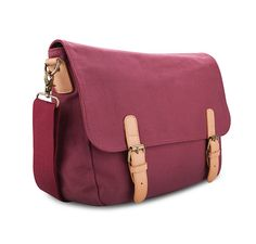 Canvas Satchel by EZRA in maroon.