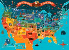 United States of America map - Art and design inspiration from around the world - CreativeRoots