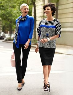Electric meets Graphic: Slim looks with a jolt of cobalt blue and a punchy #graphic print for city jaunts. #Fall #chicos