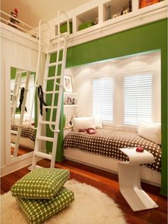 Paint Kids Bedroom Design, Pictures, Remodel, Decor and Ideas - page 9 Bright green walls. Window bed. Clever tall storage. Library ladder.