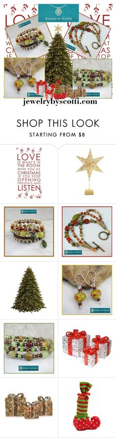 Jewelry by Scotti / Christmas Tree by scotticohn on Polyvore featuring National Tree Company, Shea's Wildflower Company, Biltmore and GE