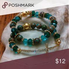 Bluegreen Natural Agate Gemstones Set Gold Accent Beads Rhinestone Cross Crystals Honeylambjewelry Jewelry Bracelets