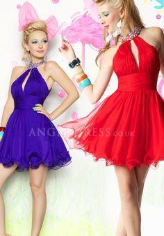 Chiffon High Neck A line Natural Waist Short Length Sleeveless Evening Dress