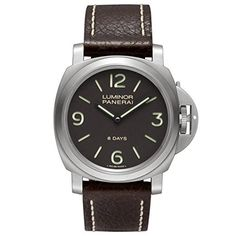 Panerai Luminor Base 8 Days Acciaio Mechanical Brown Dial Mens Watch PAM00562 by Panerai -- Awesome products selected by Anna Churchill