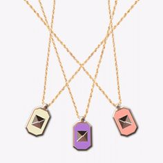 Pastel geometric necklaces. Fun pink, purple, turquoise and cream yellow colours. Perfect sherbet palette for the happy girl. Geometric Necklace, Pink Purple, Palette, Palette Table, Pallet