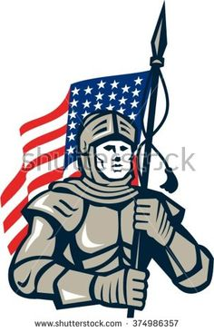 Illustration of a knight in full armor holding usa american flag viewed from front set on isolated white background done in retro style.  - stock vector #knight #sketch #illustration