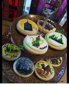 Hand painted by faizacustomcakes! Ramadan Sweets, Word App, Eid Ideas, Cupcake Cakes, Cupcakes, Paint Cookies, Ramadan Mubarak, Themed Cakes, Hand Painted