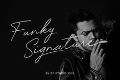 Ad: Funky Signature - Funky Fonts by Ef Studio on Funky Signature is a handwritten signature script with a natural flow in the style, perfect for personal branding, red wine labels,
