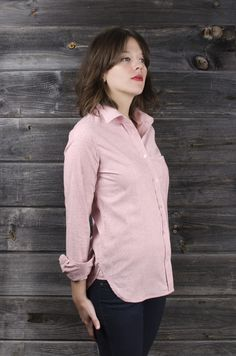 Jones St. Red | Button-down Shirt for Women | $127.00 | Fine red and white stripe Gently tailored and relaxed fit No pleats for easy ironing Double stitched pearlized buttons 97% cotton with 3% spandex Blended fabric adds a little stretch Single needle stitching Interior French seam Gusset reinforces stitching at hip Designed and sewn in San Francisco Available in sizes xs - xl