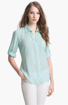 Sandra Ingrish Polka Dot  Roll Sleeve Blouse (Petite) available at #Nordstrom