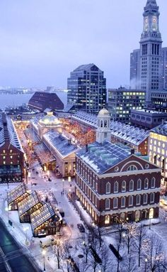"When the game is being played at Gillette Stadium in Foxborough, but the networks are showing aerial images of Boston...  img: ""Christmas Quincy Market, Faneuil Hall, Boston, MA (By: James Lemass)"""