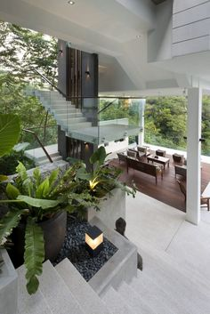 Spectacular Home Featured on Crazy Rich Asians with Amazing Forest Views! - Smart House - Ideas of Smart House - Open spaces combined with smart private zones at the Be-Landa House Dream Home Design, Modern House Design, Home Interior Design, Design My House, Modern Tropical House, Tropical Homes, Tropical House Design, Tropical Interior, Villa Design