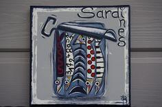Tableau sardines peinture colorée moderne personnalisable : Décorations murales par sylvie-creation