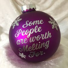 "Christmas Glass Ornament ""Frozen"" themed ""Some People are Worth Melting for"" by TmangsTreasures on Etsy"