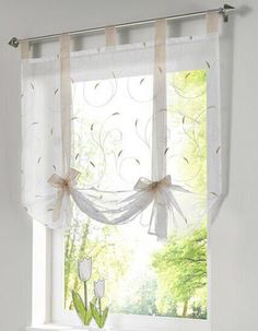 Roman Shade European Embroidery Style Tie Up Window Curtain Kitchen Voile Sheer Tab Top