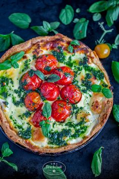 Goat cheese and cherry tomato tart with green salsa. This one can be eaten for breakfast lunch and tea!