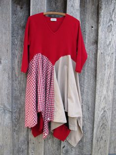 Holiday Red Romantic Dress Tunic Urban Chic 3/4 by FreeRangeRags
