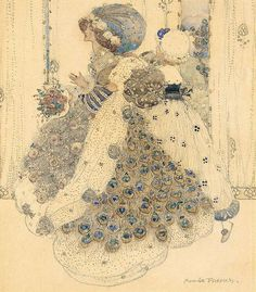 """Annie French - """"THE PEACOCK CLOAK"""" - (1896-1902) - influences """". the Pre Raphaelites,  Aubrey Beardsley and Jessie M King"""" -  quote - http://www.lochgallery.com/component/option,com_art/action,artist/id,125/Itemid,30/"""