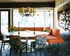 love this idea of the sectional type couch with a kitchen table!