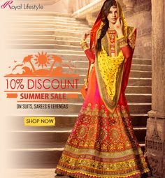 Much awaited sale is now on! Grab Flat 10% Discount on ethnic wears! Click to shop now @ http://www.royallifestyle.in/