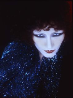 Vampish Theda Bara-esque make-up created by Serge Lutens in 1973 for Christian Dior. I don't mean rhinestones!