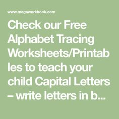 Check our Free Alphabet Tracing Worksheets/Printables to teach your child Capital Letters – write letters in box as well as 4-lined sheet. Alphabet Tracing Worksheets, Tracing Letters, Free Printable Worksheets, Writing Worksheets, Kindergarten Worksheets, Printables, English Alphabet Writing, Letter Writing, Tracing Sheets